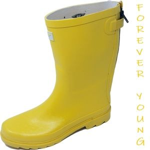 Women's Mid-calf Zippered Rubber Rain Boots, #5414